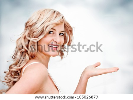 cheerful blond girl with different expressions - stock photo