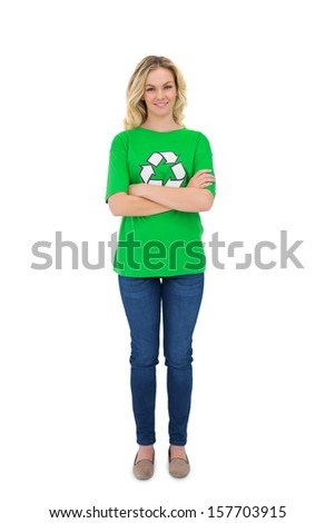 Cheerful blonde environmental activist posing on white background