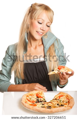 Cheerful blonde fashion woman with pizza piece , on white background