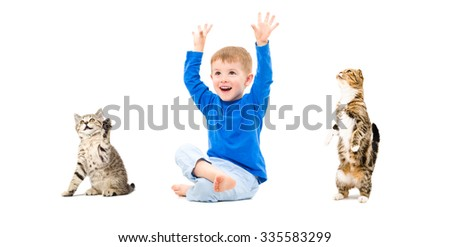 Cheerful boy and cats together isolated on a white background