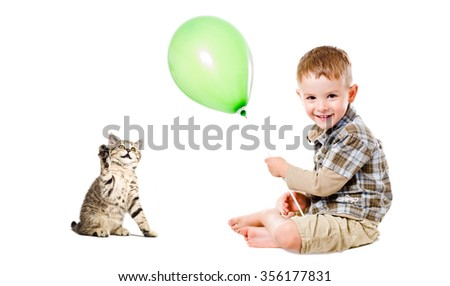 Cheerful boy and kitten Scottish Straight, isolated on white background