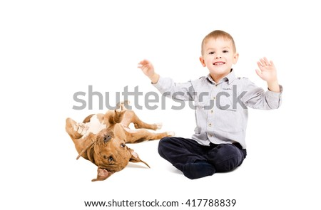 Cheerful boy and playful pit bull puppy isolated on white background - stock photo