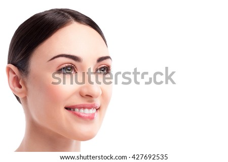 Cheerful brunette girl with perfect skin - stock photo
