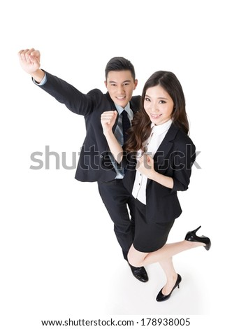 Cheerful business man and woman, full length portrait. - stock photo