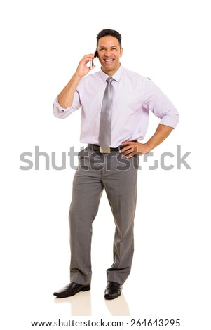 cheerful business man talking on cell phone - stock photo