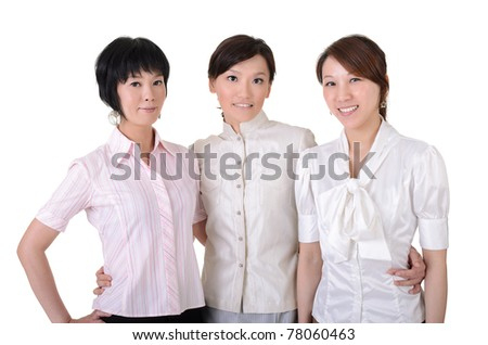 Cheerful  business team with three Asian happy businesswomen, half length closeup portrait on white background.