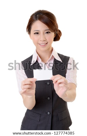 Cheerful business woman holding blank business card, closeup portrait on white background.