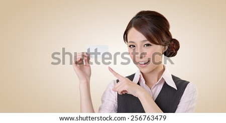 Cheerful business woman holding blank business card, closeup portrait with clipping path. - stock photo