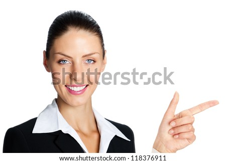 Cheerful business woman showing blank area for sign or copyspase, isolated over white background - stock photo