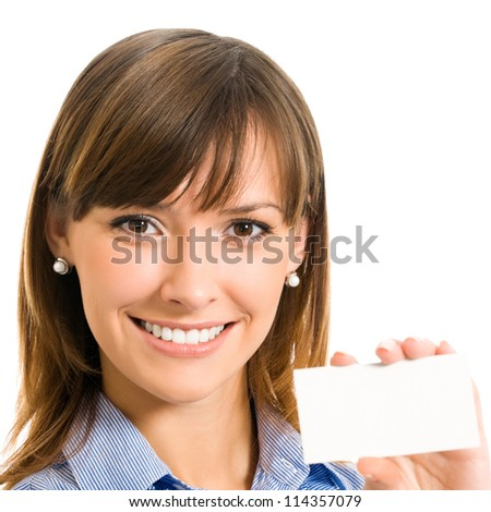 Cheerful business woman with blank business or plastic card, isolated over white backround - stock photo