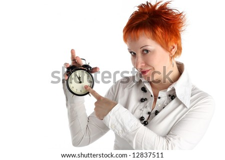 cheerful business woman with clock. Planning and organization concept - stock photo