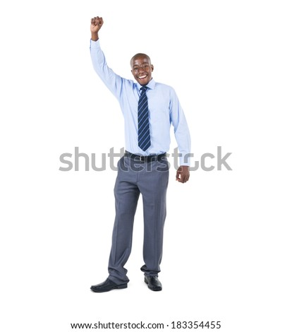 Cheerful Businessman Celebrating With Arm Raised - stock photo