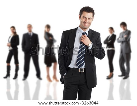Cheerful Businessman - elite dream team - people in the background are out of focus - check my gallery for more pictures - stock photo