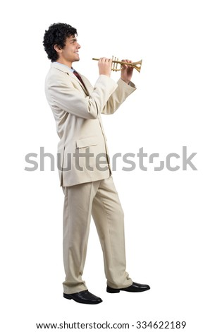 Cheerful businessman playing fife isolated on white background - stock photo