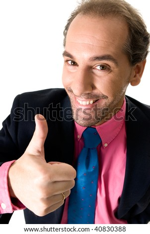 Cheerful businessman portrait on white background. - stock photo