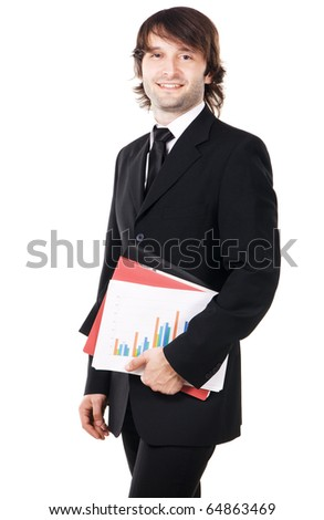 Cheerful businessman with a papers and folders against white background - stock photo