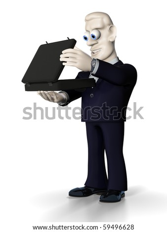 Cheerful businessman with briefcase in the right hand. Illustration. 3D render. - stock photo