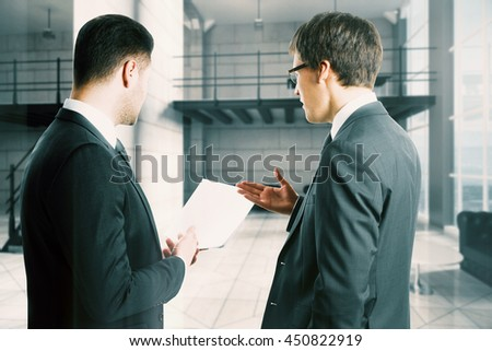 cheerful businessmen with paper in hands discussing something on blurry conference room background. 3D Rendering - stock photo