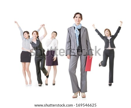 Cheerful businesswoman, a small team isolated on white background. - stock photo