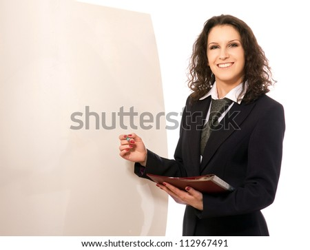 Cheerful businesswoman with a pen and folder, white background - stock photo