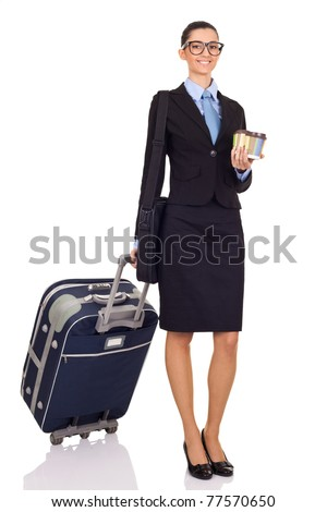 cheerful businesswomen with travel bag, isolated on white