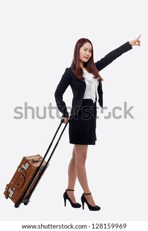 Cheerful businesswomen with travel bag isolated on white background.