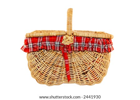 Cheerful cane picnic basket with red and white check liner, isolated on white. - stock photo