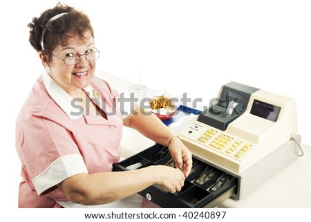 Cheerful cashier in a fast food restaurant, making change.  White background. - stock photo