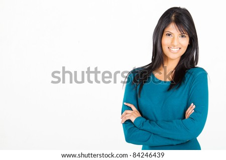 cheerful casual Hispanic woman on white - stock photo