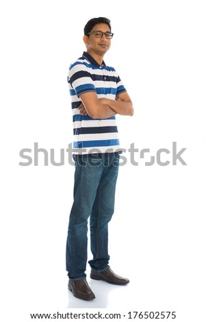 cheerful casual indian man full body isolated on white - stock photo