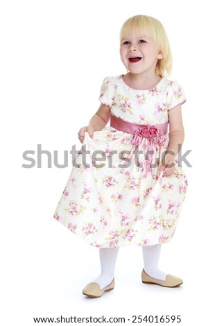 Cheerful caucasian blonde little girl. Isolated on white. - stock photo