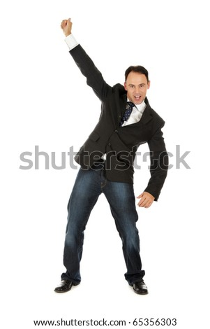 Cheerful caucasian businessman, middle aged man winner who is celebrating his victory. Studio shot. White background. - stock photo