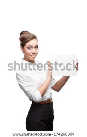cheerful caucasian businesswoman holding sign isolated on white - stock photo