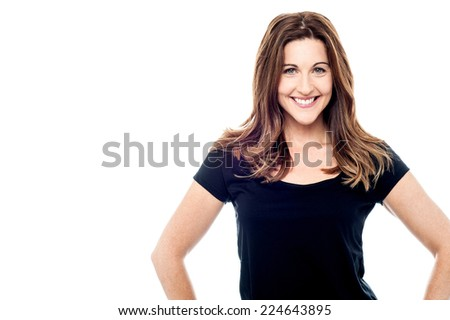 Cheerful caucasian woman posing in casuals - stock photo