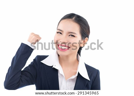 Cheerful celebrating success woman isolated. Young successful and very happy multiracial businesswoman with her arm in the air. Isolated on white background. - stock photo