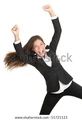Cheerful celebrating success woman isolated. Young successful and very happy multiracial businesswoman with her arm in the air. Isolated on white background.