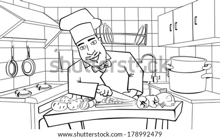 Cheerful chef cooks in the kitchen, black and white illustration - stock photo