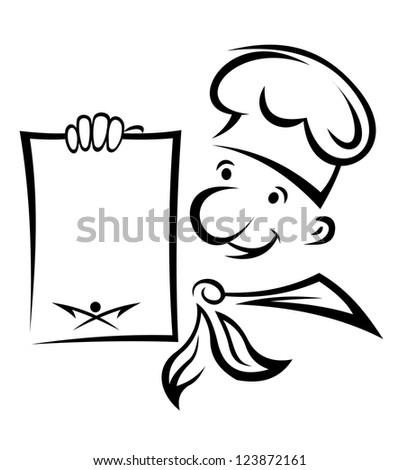 Cheerful chef with menu paper for food cooking design. Vector version also available in gallery - stock photo
