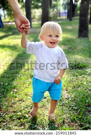 Cheerful Child hold the Parent Hand in the Summer Park - stock photo