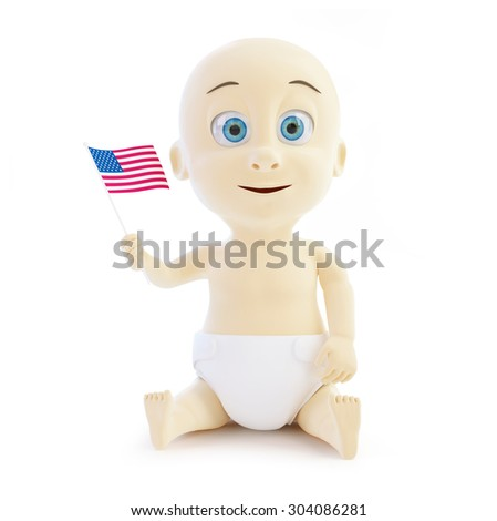 cheerful child holding a us flag on a white background - stock photo