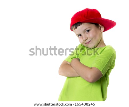 Cheerful child looking at the camera - stock photo