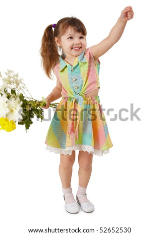 Cheerful child with a bouquet of flowers on white background - stock photo