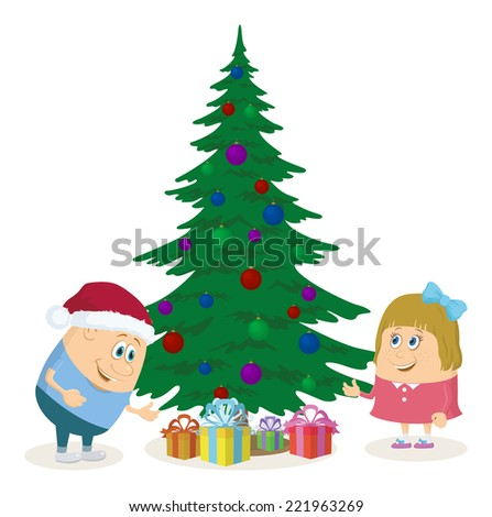 Cheerful children, boy and girl finding gift boxes under fir tree, Christmas holiday illustration, funny cartoon characters isolated on white background. - stock photo