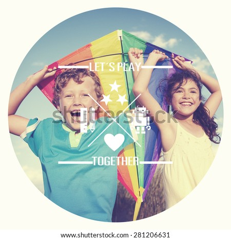 Cheerful Children Playing Kite Outdoors Concept - stock photo
