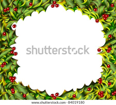 Cheerful Christmas frame or border of variegated holly leaves and berries