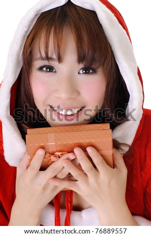 Cheerful Christmas girl, half length closeup portrait on white background. - stock photo