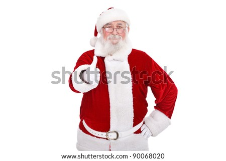 cheerful, Christmas Santa Claus with thumb-up , isolated on white background - stock photo