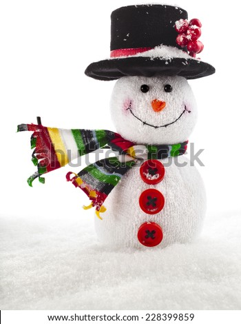 Cheerful Christmas snowman close up with scarf with copy space, isolated on white background - stock photo