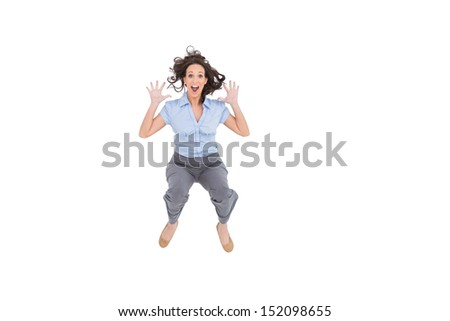 Cheerful classy businesswoman having fun on white background - stock photo