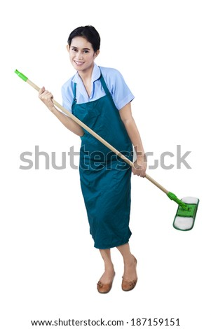 Cheerful cleaning lady holding mop isolated on white background - stock photo